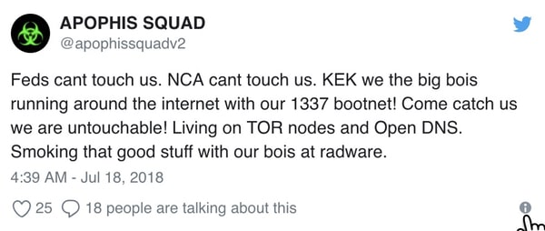 - apophis squad tweet - Teenage hacker admits making hoax bomb threats against schools and airlines