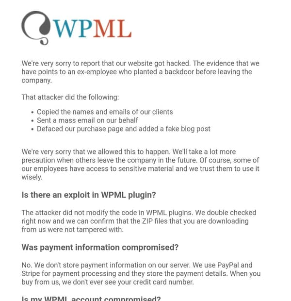 - wmpl advisory - Angry ex-employee blamed for hack of WordPress plugin developer, and email to customers warning of security hole