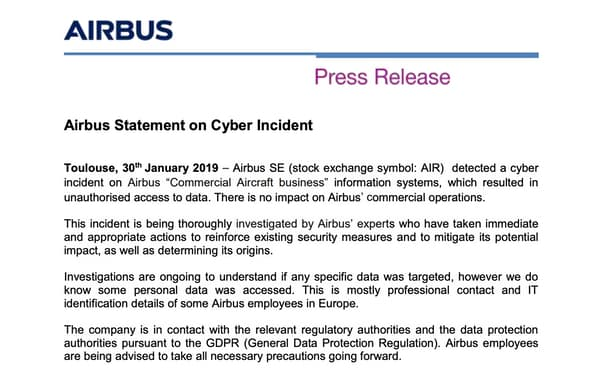 hackers hit airbus, steal personal details of employees - airbus statement - Hackers hit Airbus, steal personal details of employees