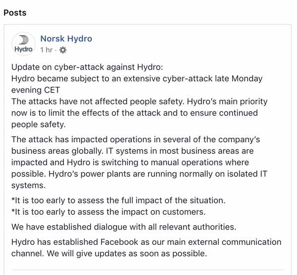 aluminium plants hit by cyber-attack, global company turns to manual operations - hydro facebook - Aluminium plants hit by cyber-attack, global company turns to manual operations