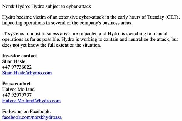 aluminium plants hit by cyber-attack, global company turns to manual operations - hydro webpage now - Aluminium plants hit by cyber-attack, global company turns to manual operations