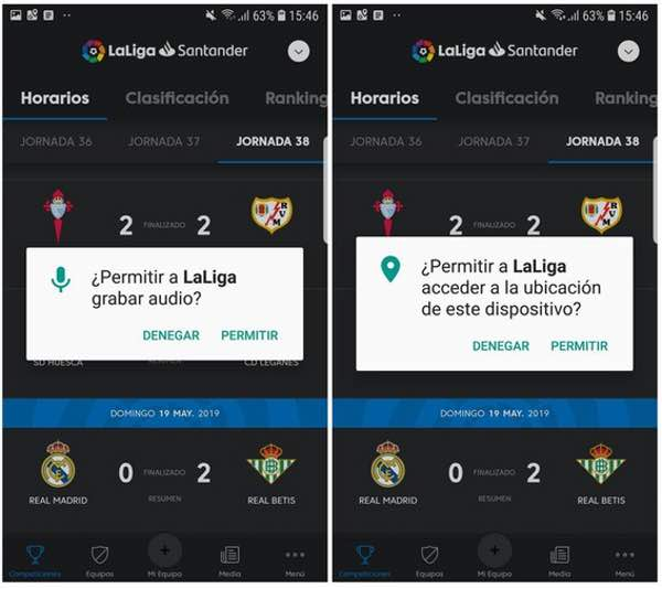 - laliga permissions - La Liga fined €250,000 after Android app spied on football fans