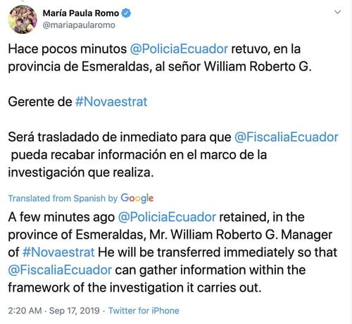 - ecu tweet - Police raids after data on most of Ecuador's citizens leaks online