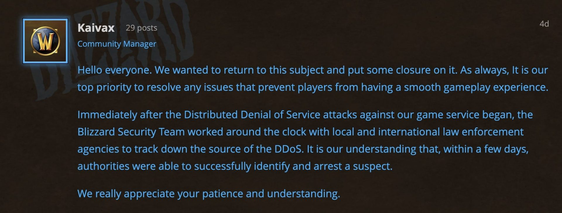 - wow ddos statement - World of Warcraft's suspected DDoS attacker has been arrested